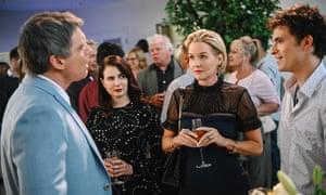 Michael Shanks, Mia Kirshner, Penelope Ann Miller and Sam Duke in The College Admissions Scandal.