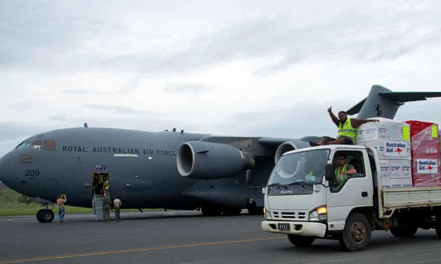 An RAAF C-17A Globemaster delivers emergency supplies to Vanuatu after cyclone Pam tore through the South Pacific nation in March.