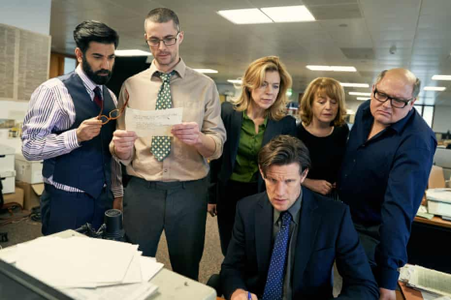 The Observer team in a scene from the film, with Matt Smith, front, as home affairs editor Martin Bright.