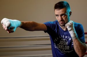 Josh Taylor, the Scottish boxer who is the current IBF super lightweight world champion, in the training gym at the University of Kent Sports Centre.