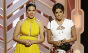 America Ferrera, left, and Eva Longoria (not Mendes) at the 73rd annual Golden Globe awards.