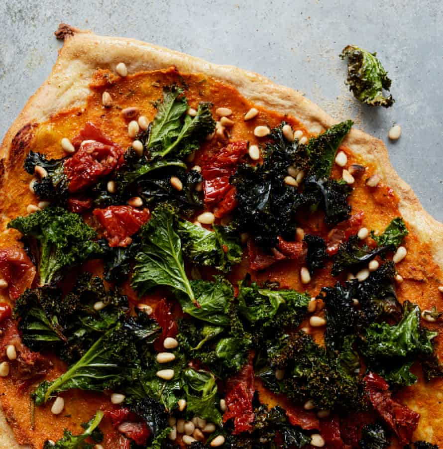 Anna Jones' squash and crispy kale pizza.