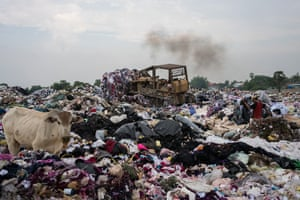 A waste site, on the outskirts of Phnom Penh, used by the city's garment industry to dispose of offcuts