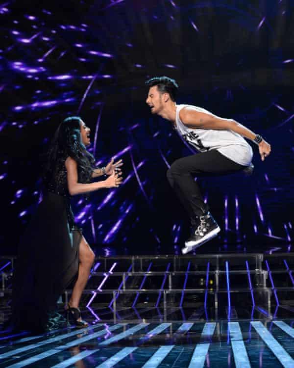 Rylan Clark-Neal with Nicole Scherzinger on The X Factor
