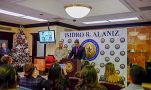 Isidro R Alaniz, the Webb county district attorney, gives a press conference after indicting Juan David Ortiz on capital murder charges.