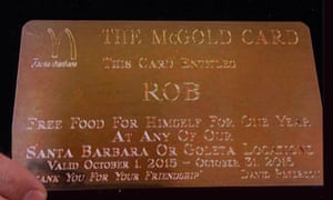 Rob Lowe's McDonald's gold card.