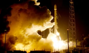 A remodelled version of the SpaceX Falcon 9 rocket lifts off at Cape Canaveral.