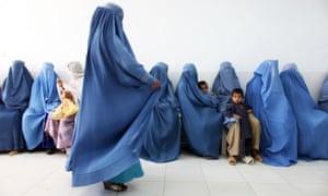 Afghan women in a hospital waiting room, 2010.