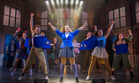 Carrie Hope Fletcher as Veronica, centre, in Heathers the Musical.