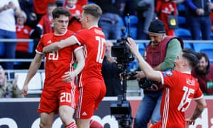 Wales' Daniel James celebrates scoring his side's first goal of the game
