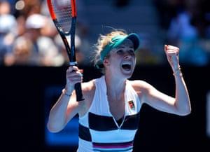 Elina Svitolina celebrates after her win over Zhang Shuai.