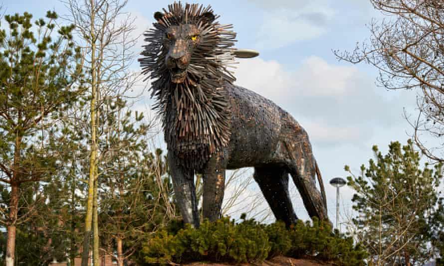 Aslan the lion, sculpture in CS Lewis Square, Belfast.