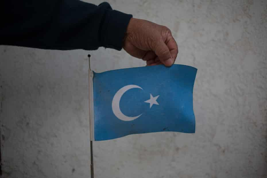 The official flag of the former East Turkestan Republic