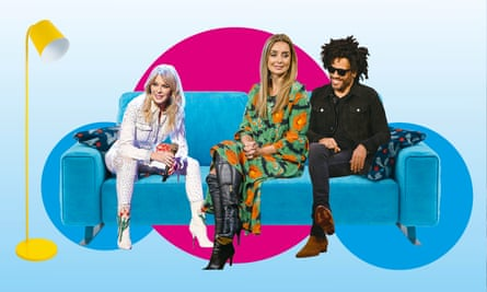 Couch serving... Kylie, Louise and Lenny Kravitz.