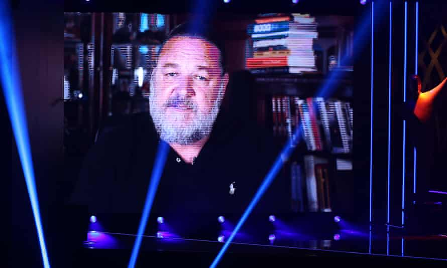 Russell Crowe speaks via video link during an Australian TV awards ceremony in November.