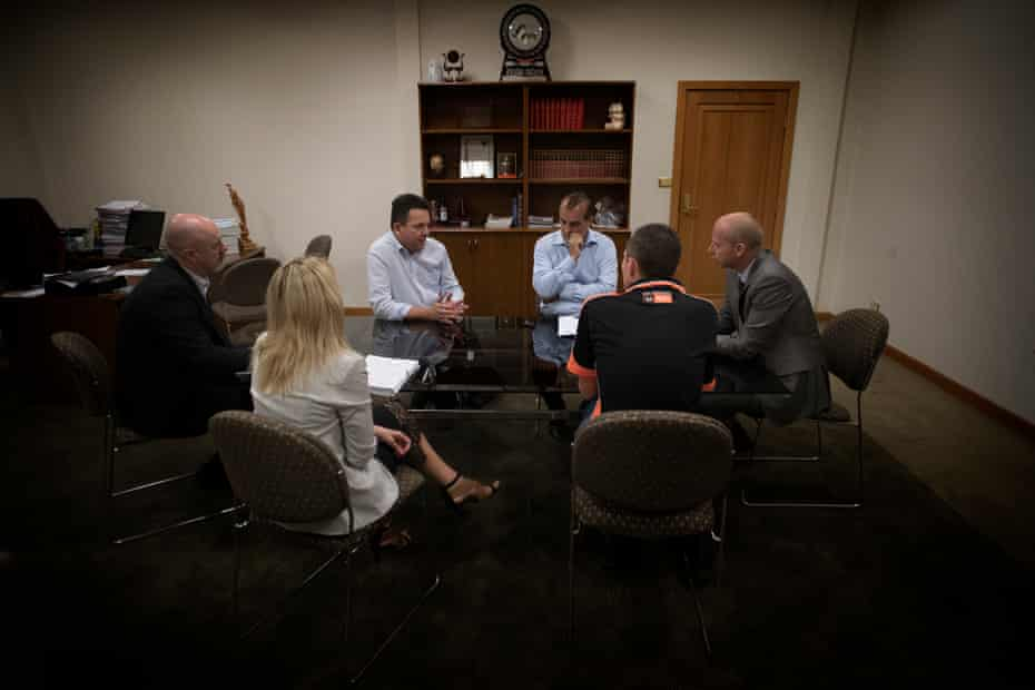 The SA-Best candidate for the seat of Giles, Tom Antonio, with Nick Xenophon talking to the Whyalla council on Tuesday.
