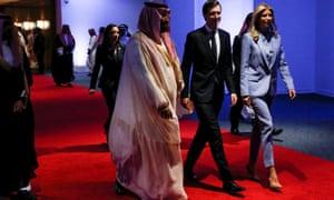 Crown Prince Mohammed bin Salman of Saudi Arabia with Jared Kushner and Ivanka Trump in Riyadh, Saudi Arabia, in May 2017.