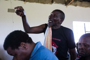 Mathentombi Dimane asks a question at the community meeting in Xolobeni.