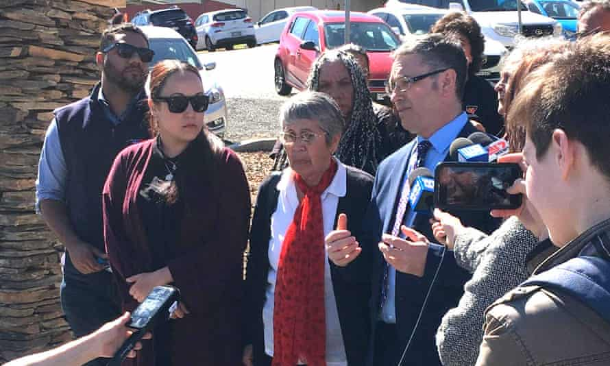 Naomi Williams' family and friends address the media at Gundagai courthouse ahead of the inquest into her death at Tumut hospital.
