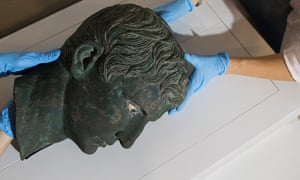 Toppled head of a statue of Emperor Augustus at the British Museum.