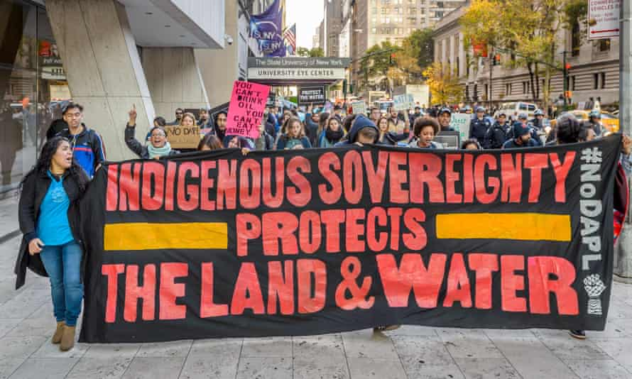 Protesters in New York make a show of solidarity with the North Dakota movement.