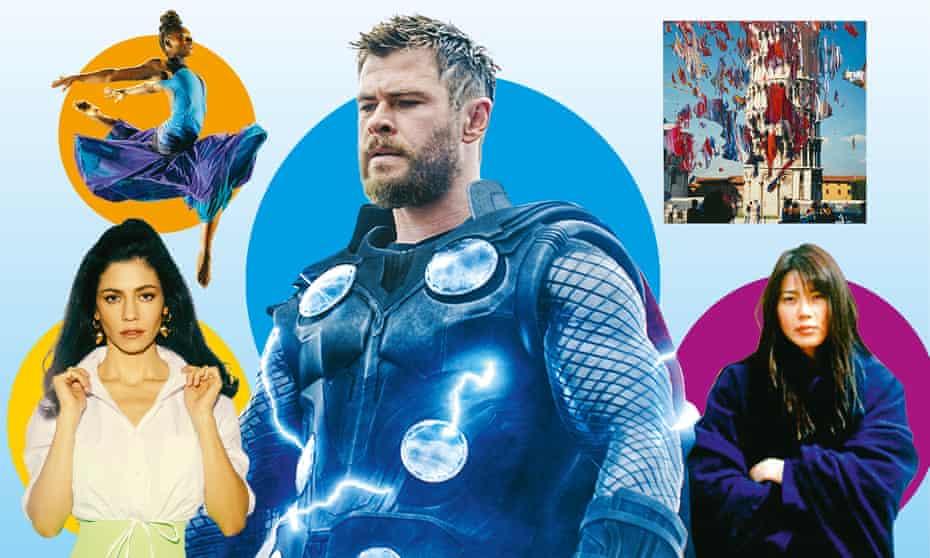 Clockwise from top left: Let's Dance International Frontiers; Avengers: Endgame; Gerhard Richter; Maboroshi; Marina.