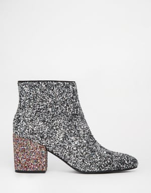 "£45, <a href=""http://www.asos.com/ASOS/ASOS-RADIO-STAR-Pointed-Ankle-Boots/Prod/pgeproduct.aspx?iid=5482442&amp;cid=6455&amp;sh=0&amp;pge=0&amp;pgesize=36&amp;sort=-1&amp;clr=Glitter+mix&amp;totalstyles=447&amp;gridsize=3"">asos.com </a>"