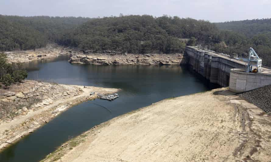 A boom floats across a small bay near the wall at Warragamba Dam near Sydney.