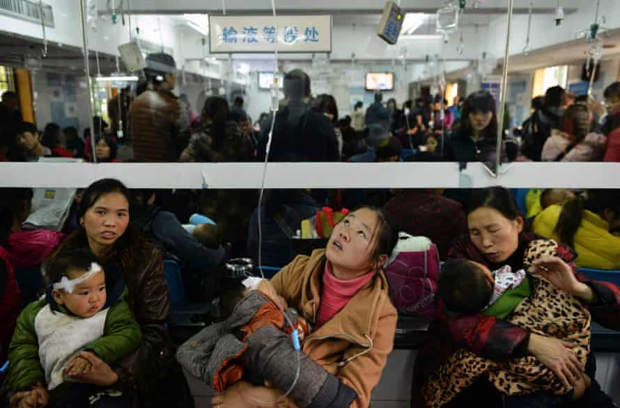 Children with respiratory diseases receive treatment at a hospital in Hangzhou, Zhejiang province, China.