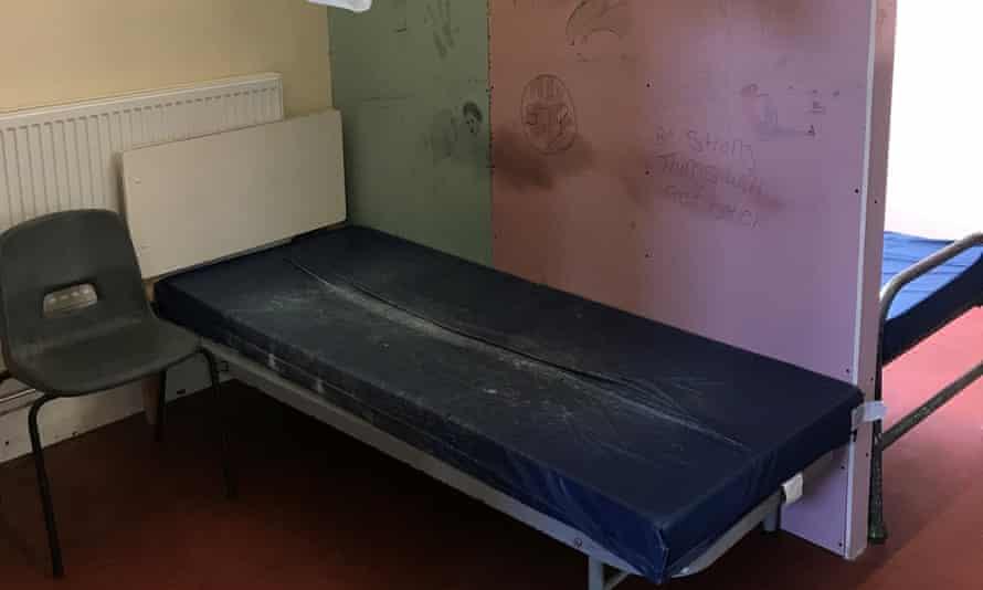 A sleeping area in Napier barracks.