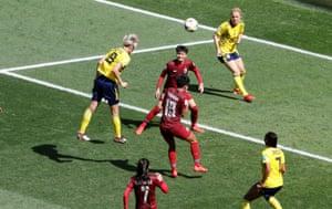 Sweden's Lina Hurtig scores their fourth goal.