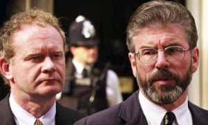 Gerry Adams (right) and Martin McGuinness outside Downing Street during peace talks.