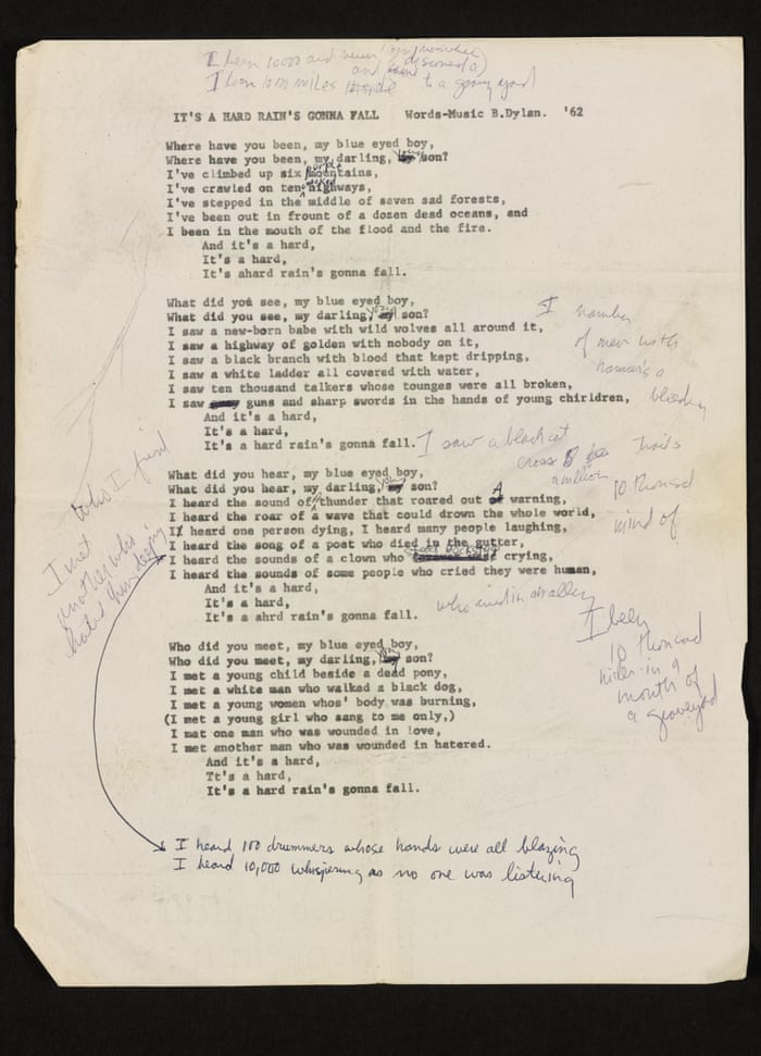Lyric i ve been changed lyrics : Bob Dylan early draft for A Hard Rain's a-Gonna Fall shows telling ...