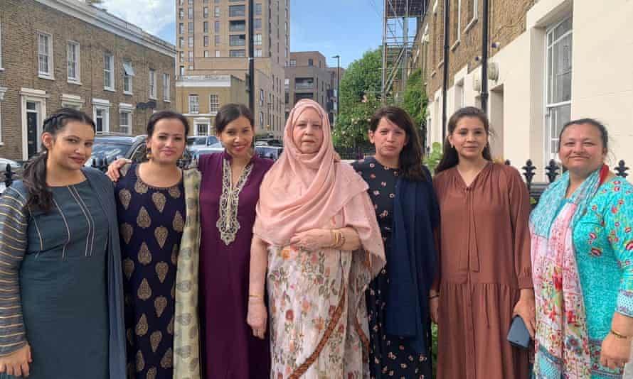 Kia Abdullah (third left) with her mother (centre) and sisters, during Eid, 2019.