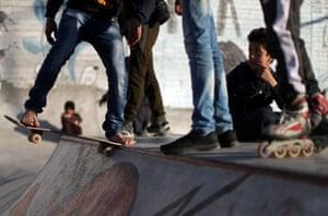Members of Gaza skate team