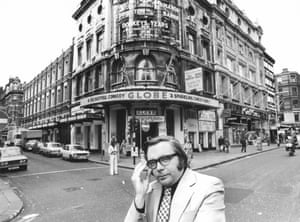 Michael Billington outside the Globe theatre on Shaftesbury Avenue, London, in 1977