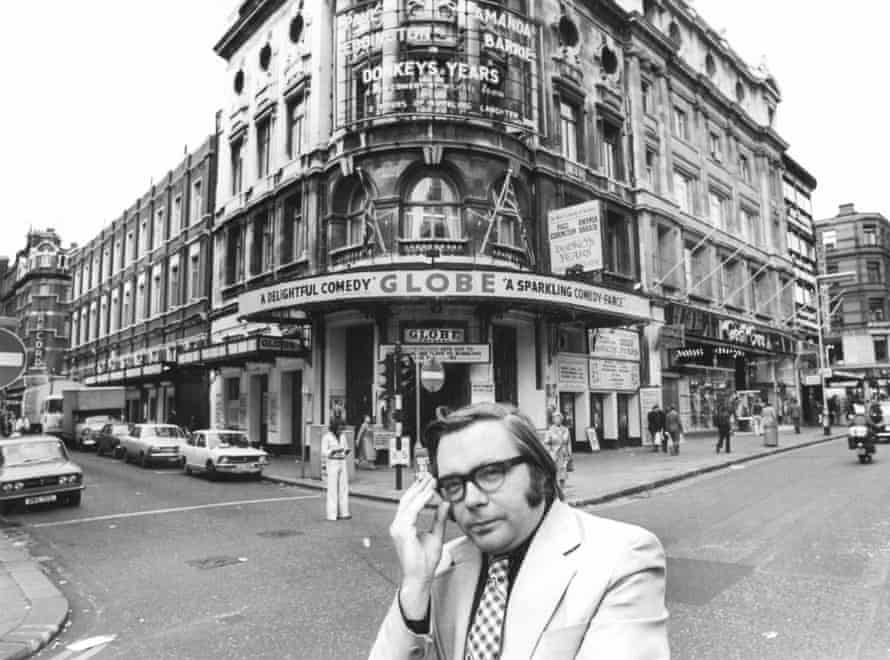 Michael Billington outside the Globe theatre on Shaftesbury Avenue, London, in 1977