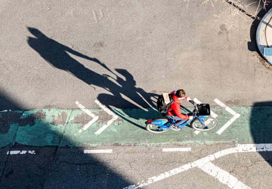 A person rides a Citi Bike in Kips Bay.