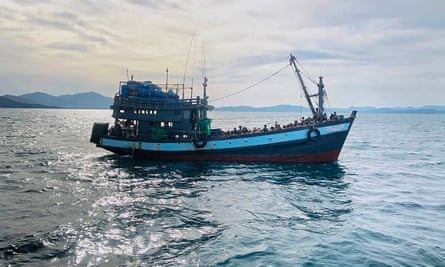A boat carrying suspected Rohingya refugees off the island of Langkawi, Malaysia