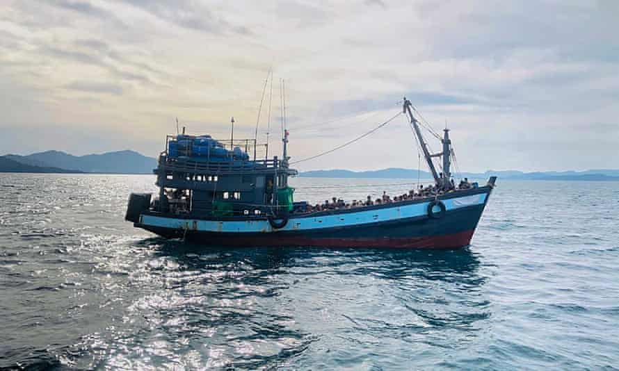 A boat carrying Rohingya refugees is detained in Malaysian territorial waters off the island of Langkawi   on 16 April.