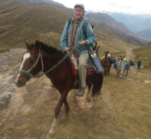 Hugh Thomson on trusty horse Trueño, with accompanying llamas