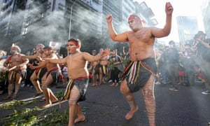 Indigenous dancers in the Brisbane central business district.