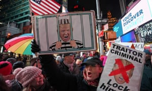 More than 1,000 protestors gathered in New York's Times Square to rally in support of impeachment.
