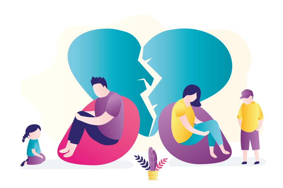 couples break up illustration