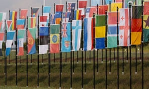 world flags on display at the 2005 UN Youth Day