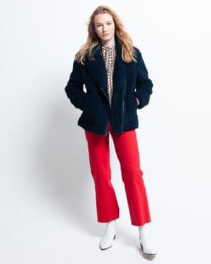 Edie wears borg jacket, £69, marksandspencer.com. Shirt, £35, topshop.com. Jeans, £185, uk.maje.com. Boots, £223, ivyleecopenhagen.com