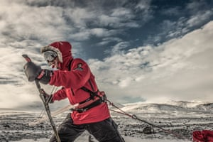Searle was expedition leader for Louis Rudd's 925-mile solo trek across the Antarctic last month.