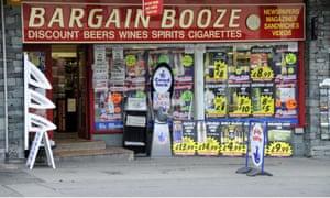 A Bargain Booze store in the Lake District, Cumbria.