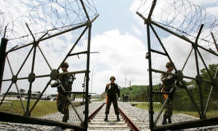 South Korean soldiers on the border of North Korea.