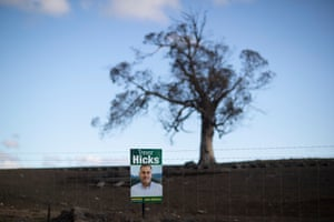 Election poster for Nationals candidate Trevor Hicks beside the snowy mountains highway near Cooma in the electorate of Eden Monaro.
